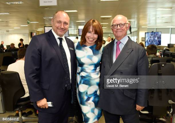 Kay Burley representing Brainwave with President at BGC Partners Inc Shaun D Lynn and David Buik at BGC Charity Day on September 11 2017 in Canary...