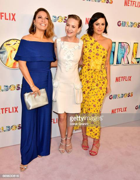 Kay Cannon Britt Robertson Sophia Amoruso arrives at the Premiere Of Netflix's 'Girlboss' at ArcLight Cinemas on April 17 2017 in Hollywood California