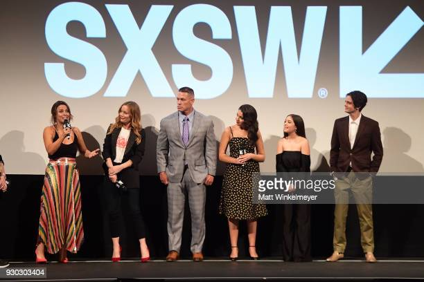 Kay Cannon Leslie Mann John Cena Geraldine Viswanathan Gideon Adlon and Miles Robbins attend the 'Blockers' Premiere 2018 SXSW Conference and...