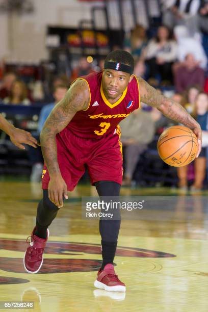 Kay Felder of the Canton Charge dribbles the ball against the Maine Red Claws on March 23 2017 at the Portland Expo in Portland Maine NOTE TO USER...