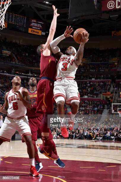 Kay Felder of the Chicago Bulls drives to the basket against the Cleveland Cavaliers on October 24 2017 at Quicken Loans Arena in Cleveland Ohio NOTE...