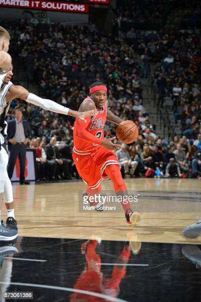 Kay Felder of the Chicago Bulls handles the ball against the San Antonio Spurs on November 11 2017 at the ATT Center in San Antonio Texas NOTE TO...