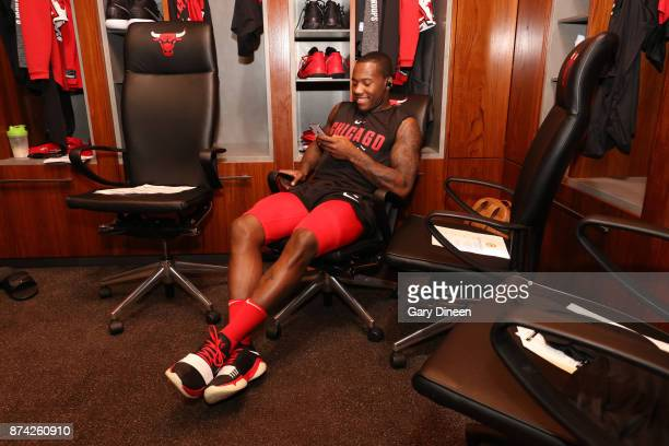 Kay Felder of the Chicago Bulls is seen before the game against the Indiana Pacers on November 10 2017 at the United Center in Chicago Illinois NOTE...