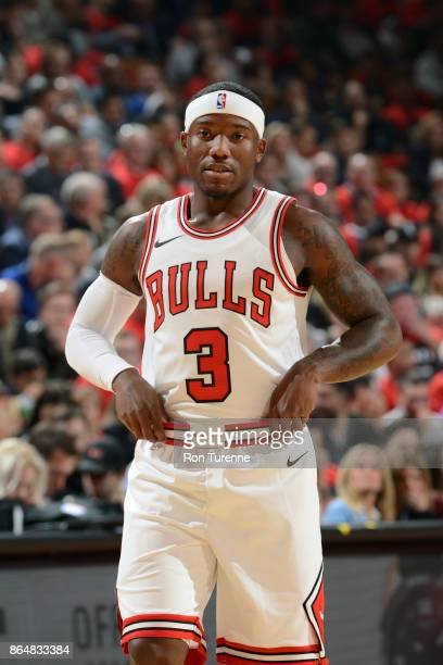 Kay Felder of the Chicago Bulls looks on during the game against the Toronto Raptors on October 19 2017 at the Air Canada Centre in Toronto Ontario...