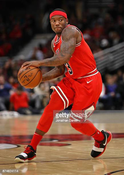 Kay Felder of the Chicago Bulls passes against the Indiana Pacers at the United Center on November 10 2017 in Chicago Illinois The Pacers defeated...