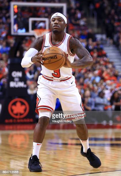 Kay Felder of the Chicago Bulls passes the ball during to the first half of an NBA game against the Toronto Raptors at Air Canada Centre on October...