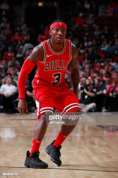 Kay Felder of the Chicago Bulls plays defense during the game against the San Antonio Spurs on October 21 2017 at the United Center in Chicago...