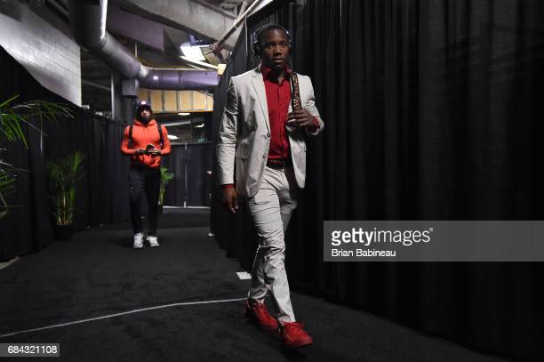Kay Felder of the Cleveland Cavaliers arrives to the arena before the game against the Boston Celtics during Game One of the Eastern Conference...