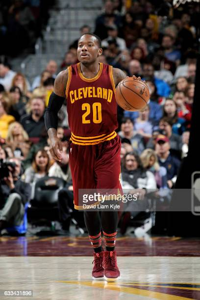 Kay Felder of the Cleveland Cavaliers brings the ball up court during the game against the Minnesota Timberwolves on February 1 2017 at Quicken Loans...