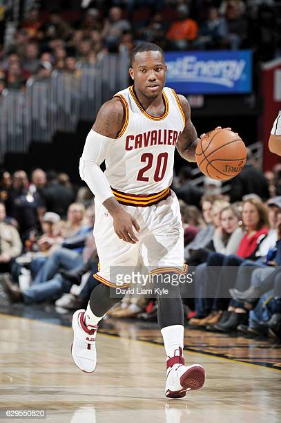 Kay Felder of the Cleveland Cavaliers brings the ball up court against the Memphis Grizzlies during the game on December 13 2016 at Quicken Loans...
