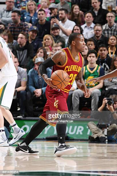 Kay Felder of the Cleveland Cavaliers brings the ball up court against the Utah Jazz against the Utah Jazz during the game on January 10 2017 at...