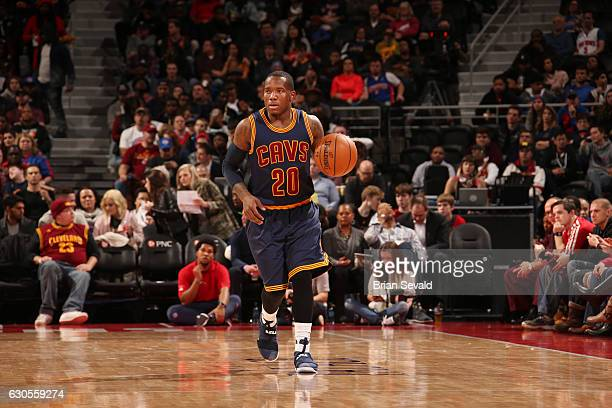 Kay Felder of the Cleveland Cavaliers brings the ball up the court during a game against the Detroit Pistons on December 26 2016 at The Palace of...