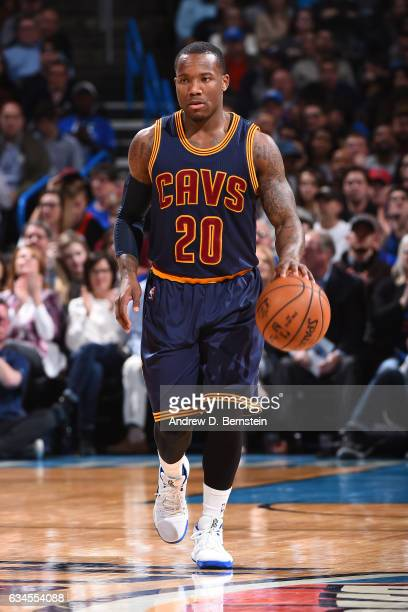 Kay Felder of the Cleveland Cavaliers dribbles the ball up the court against the Oklahoma City Thunder during the game on February 9 2017 at...