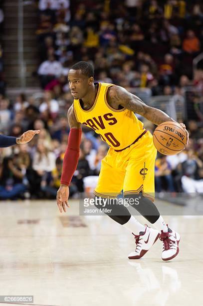 Kay Felder of the Cleveland Cavaliers drives down court during the second half against the Dallas Mavericks at Quicken Loans Arena on November 25...