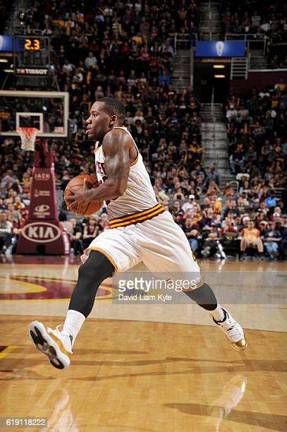 Kay Felder of the Cleveland Cavaliers drives to the basket against the Orlando Magic on October 29 2016 at Quicken Loans Arena in Cleveland Ohio NOTE...