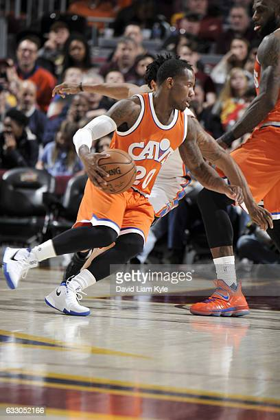 Kay Felder of the Cleveland Cavaliers drives to the basket against the Oklahoma City Thunder during the game on January 29 2017 at Quicken Loans...
