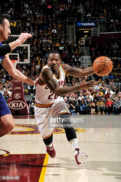 Kay Felder of the Cleveland Cavaliers drives to the basket during the game against the Charlotte Hornets on November 13 2016 at Quicken Loans Arena...