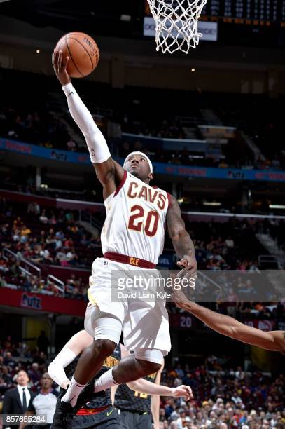 Kay Felder of the Cleveland Cavaliers goes for the lay up during the preseason game against the Atlanta Hawks on October 4 2017 at Quicken Loans...