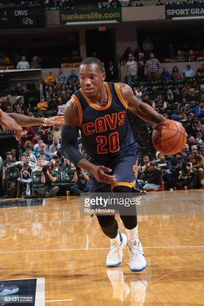 Kay Felder of the Cleveland Cavaliers handles the ball against the Indiana Pacers on February 8 2017 at Bankers Life Fieldhouse in Indianapolis...