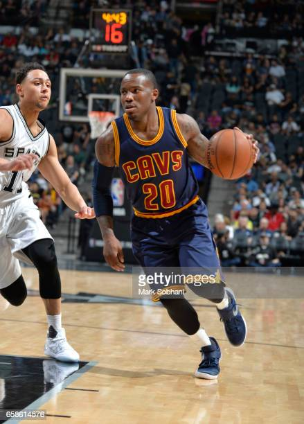 Kay Felder of the Cleveland Cavaliers handles the ball against the San Antonio Spurs during the game on March 27 2017 at the ATT Center in San...