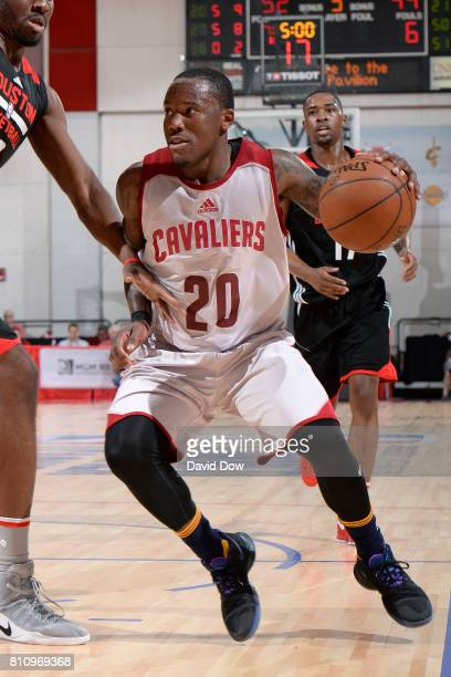 Kay Felder of the Cleveland Cavaliers handles the ball against the Houston Rockets during the 2017 Las Vegas Summer League on July 8 2017 at the Cox...