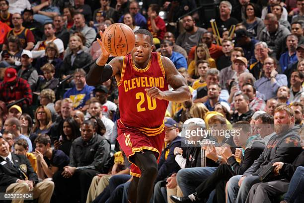 Kay Felder of the Cleveland Cavaliers handles the ball during the game against the Indiana Pacers on November 16 2016 at Bankers Life Fieldhouse in...