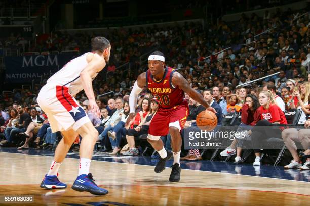 Kay Felder of the Cleveland Cavaliers handles the ball during the preseason game against the Washington Wizards on October 8 2017 at Capital One...