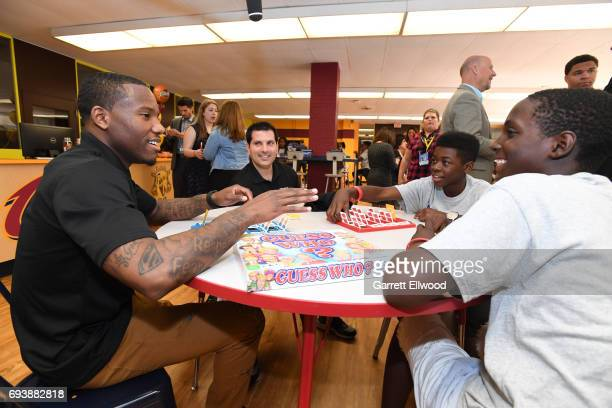 Kay Felder of the Cleveland Cavaliers interacts with the kids at the 2017 NBA Finals Cares Legacy Project as part of the 2017 NBA Finals on June 8...