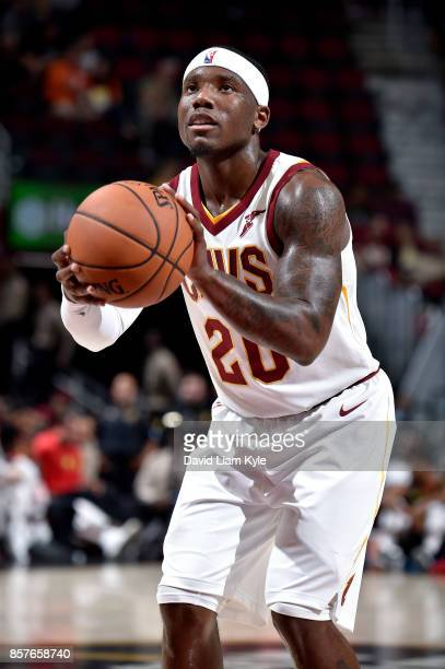 Kay Felder of the Cleveland Cavaliers shoots a free throw during the preseason game against the Atlanta Hawks on October 4 2017 at Quicken Loans...
