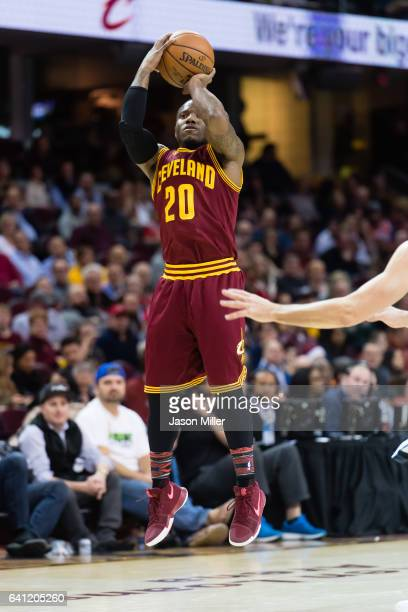 Kay Felder of the Cleveland Cavaliers shoots during the second half against the Minnesota Timberwolves at Quicken Loans Arena on February 1 2017 in...