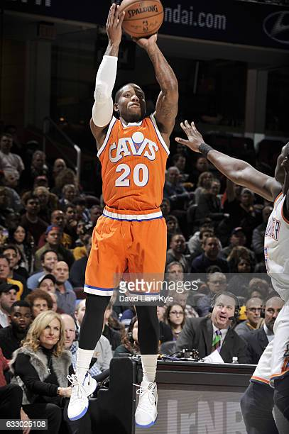 Kay Felder of the Cleveland Cavaliers shoots the ball against the Oklahoma City Thunder during the game on January 29 2017 at Quicken Loans Arena in...