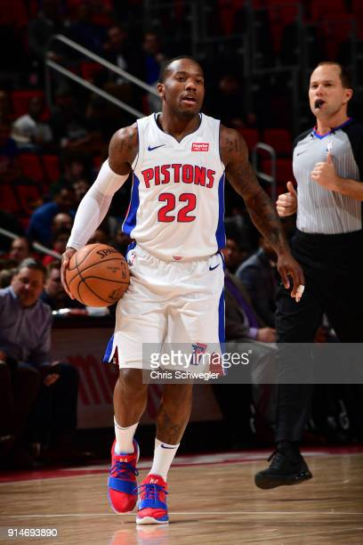 Kay Felder of the Detroit Pistons handles the ball against the Portland Trail Blazers on February 5 2018 at Little Caesars Arena Michigan NOTE TO...