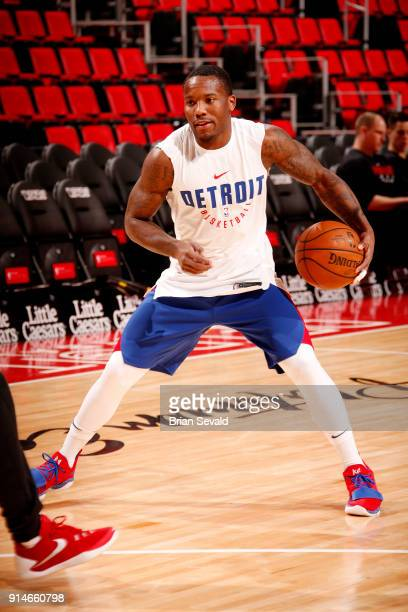 Kay Felder of the Detroit Pistons warms up prior to the game against the Portland Trail Blazers on February 5 2018 at Little Caesars Arena in Detroit...