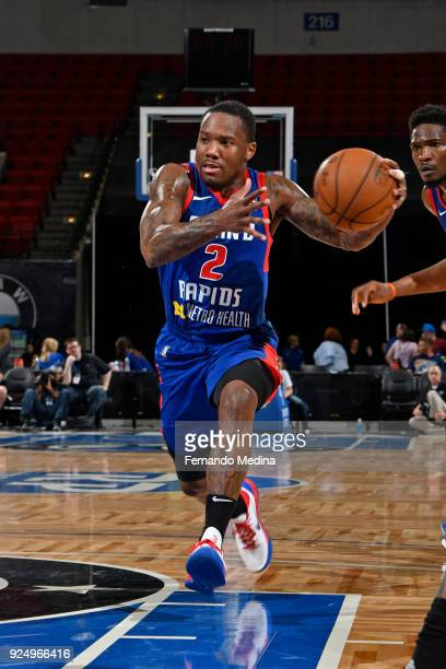 Kay Felder of the Grand Rapids Drive drives to the basket against the Lakeland Magic during the game on February 24 2018 at RP Funding Center in...