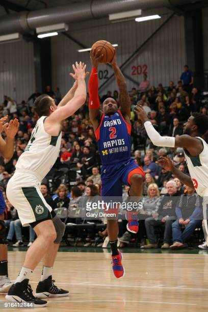 Kay Felder of the Grand Rapids Drive shoots the ball during the game against the Wisconsin Herd on February 9 2018 at the Menominee Nation Arena in...