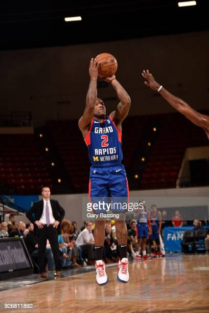 Kay Felder of the Grand Rapids Drive shoots the ball during the game against the Lakeland Magic on February 24 2018 at RP Funding Center in Lakeland...