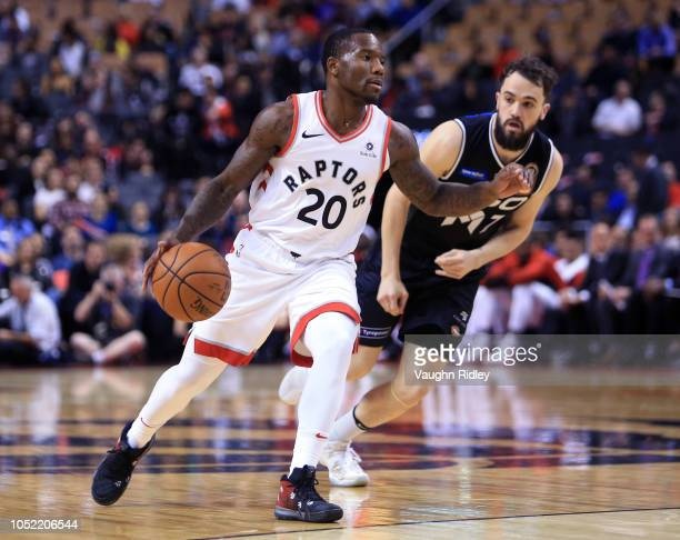 Kay Felder of the Toronto Raptors dribbles the ball during the second half of an NBA preseason game against Melbourne United at Scotiabank Arena on...