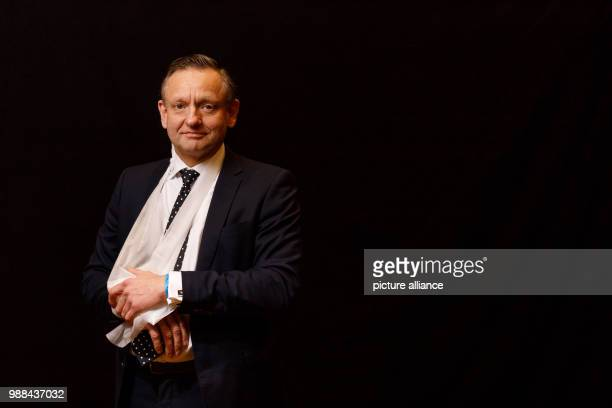 Kay Gottschalk member of the faction of the Alternative for Germany in the Bundestag stands in a mobile photo studio in the course of the AfD's party...