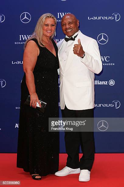 Kay Guarrera and Marvin Hagler attend the Laureus World Sports Awards 2016 at the Messe Berlin on April 18 2016 in Berlin Germany