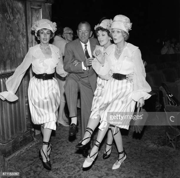 Kay Kendall left enjoying a dance with Noel Coward Joyce Grenfell and Margaret Leighton during rehearsals for the 'Night Of 100 Stars' charity...