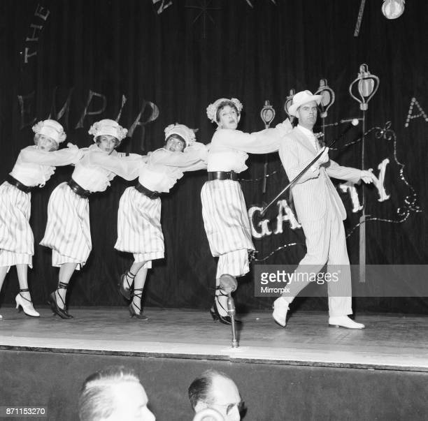 Kay Kendall left performing with Margaret Leighton Julie Wilson Joyce Grenfell and Ian Carmichael during rehearsals for the 'Night Of 100 Stars'...