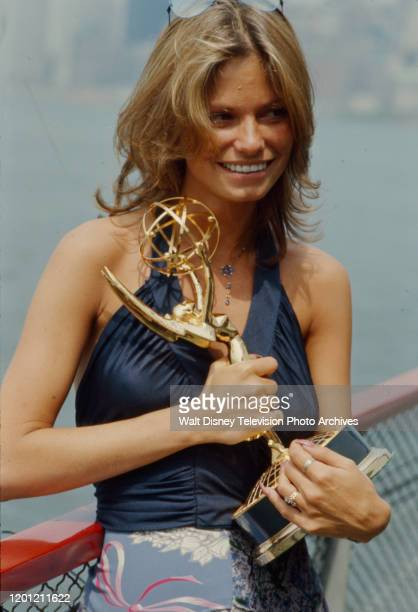 Kay Lenz with her award for Best Actress in a Daytime Drama Special at the 2nd Daytime Emmy Awards which took place on the SS Dayliner in the Hudson...