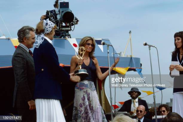 Kay Lenz with her award for 'Outstanding Actress in a Daytime Drama Special' at the 2nd Daytime Emmy Awards which took place on the SS Dayliner in...