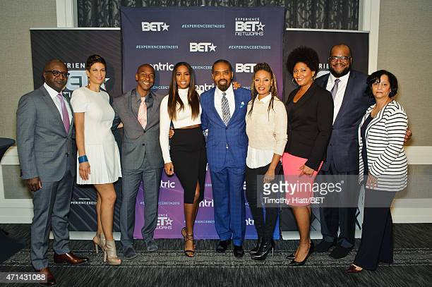 Kay Madati Michele Thornton Stephen G Hill Kelly Rowland Louis Carr MC Lyte Vicky Free Matthew Barnhill and Michelle Garner attend the BET Upfronts...