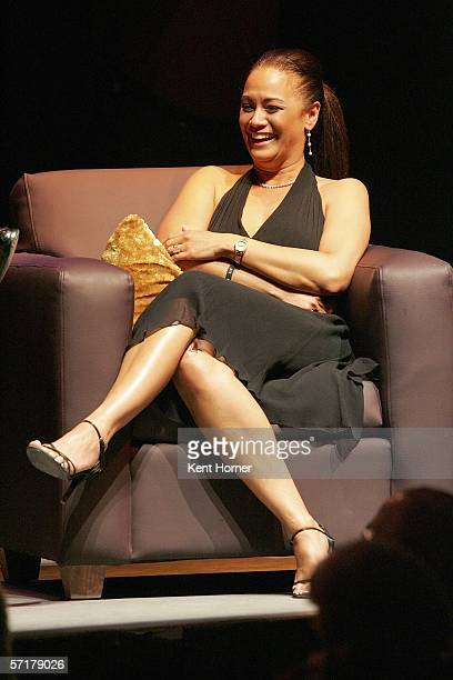 Kay Malone sits on stage during a Charity Roast for the her husband retired NBA power forward Karl Malone March 24 2006 at the Depo Club in Salt Lake...