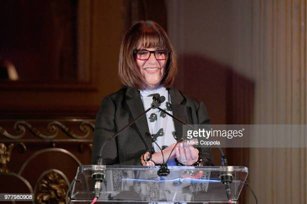 Kay Unger speaks onstage during the 8th Annual Elly Awards hosted by the Women's Forum of New York at The Plaza Hotel on June 18 2018 in New York City