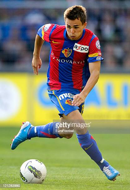 Kay Voser of FC Basel 1893 in action during the Swiss Axpo Super League match between FC Basel 1893 and FC Zurich held on August 13 2011 at St...