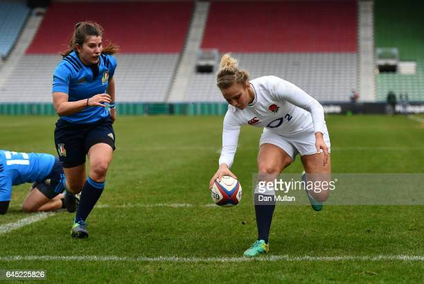 Kay Wilson of England scores her side's first try during the RBS Womens Six Nations match between England and Italy at Twickenham Stoop on February...