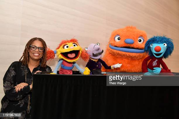 """Kay Wilson Stallings Cody Scatter Mr Primm and Heart from """"Helpsters"""" a brandnew preschool series from the makers of """"Sesame Street"""" that airs on..."""