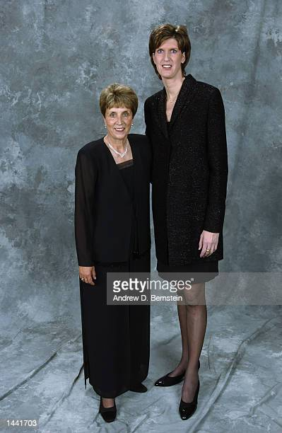Kay Yow poses for a portrait with Anne Donovan after the Hall of Fame ceremony on September 27 2002 at Springfield Civic Center in Springfield...